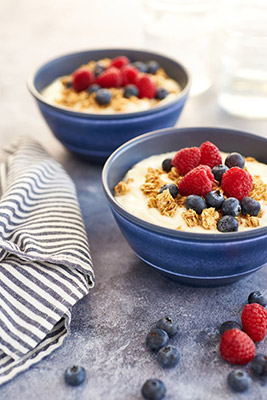 A healthy granola and fruit breakfast