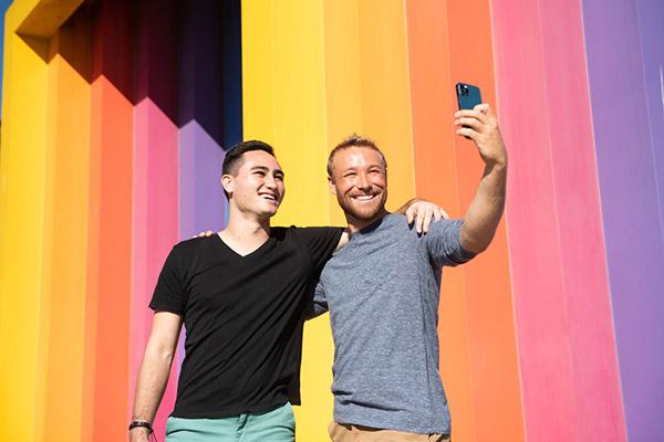 Two men taking a selfie